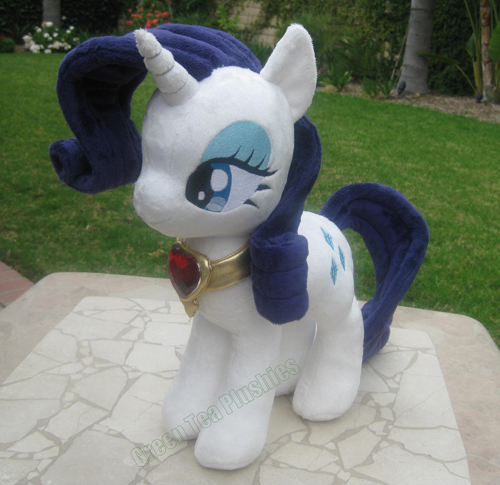 Rarity Plush with fire ruby necklace by GreenTeaCreations