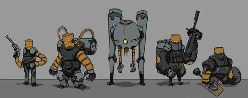 Robot Character Design Doodles by tfZanben