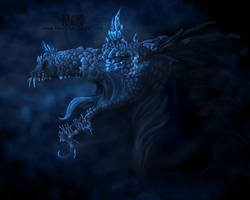 Creature Concept: Blue crystal dragon (redone) by kkako