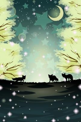 Fox Forest In Moonlight by Rosemoji
