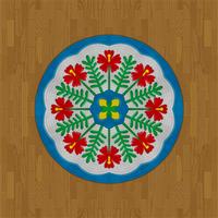 Wood Flooring  Hawaiian Round Rug by Rosemoji