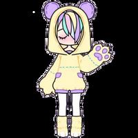 Pastel Girl in Bear Hoodie by Rosemoji