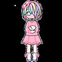 Pastel Girl with Bunny by Rosemoji