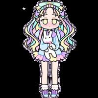 Pastel Girl with Stuffed Bunny by Rosemoji
