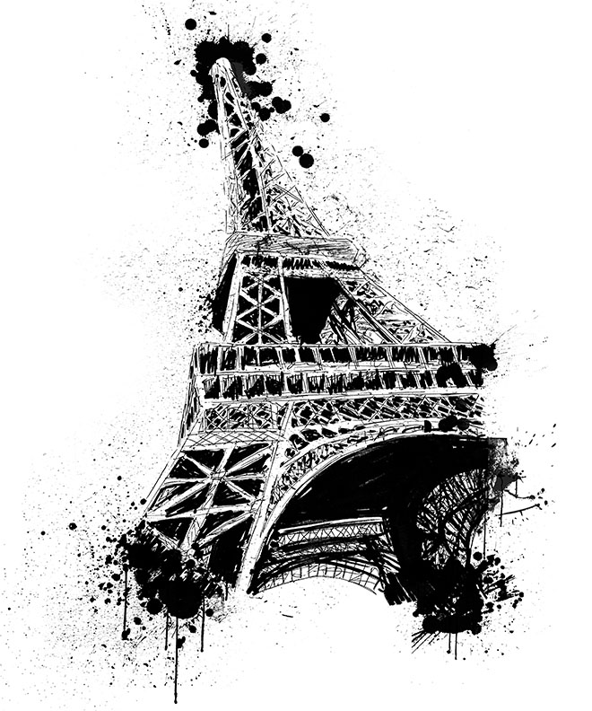 Paris- Eiffel Tower- splatter art t-shirt by westwolf270