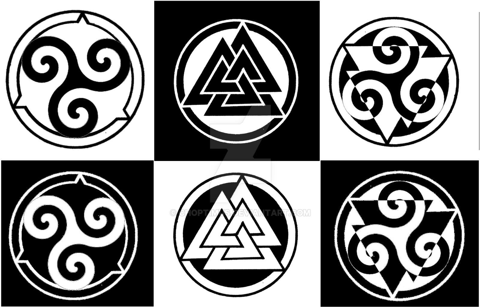 Triskelion and valknut by choptimus on deviantart for Valknut symbol tattoo