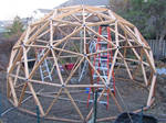 Geodesic dome frame in cedar