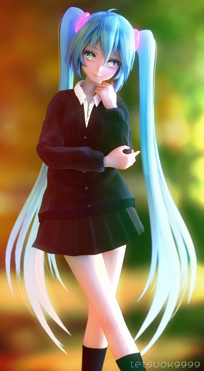 Schoolgirl Miku by tetsuok9999