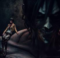 rogue Titan and Mikasa