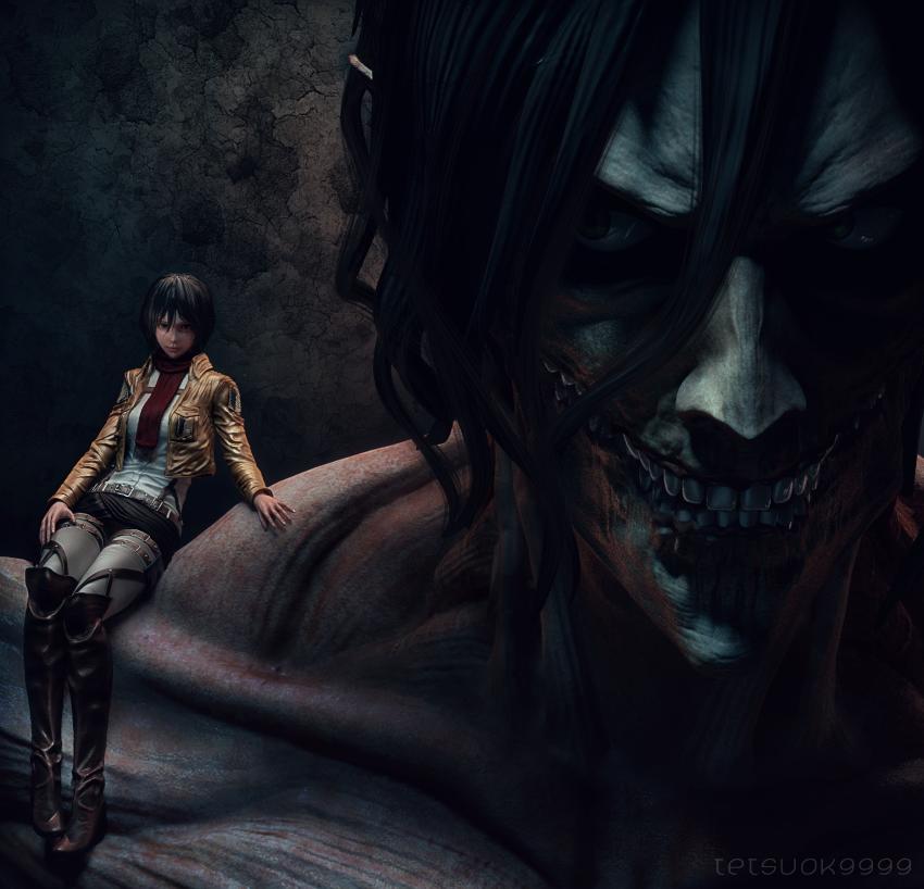 rogue Titan and Mikasa by tetsuok9999
