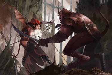 Devil Tiefling vs Demon by ilkerserdar