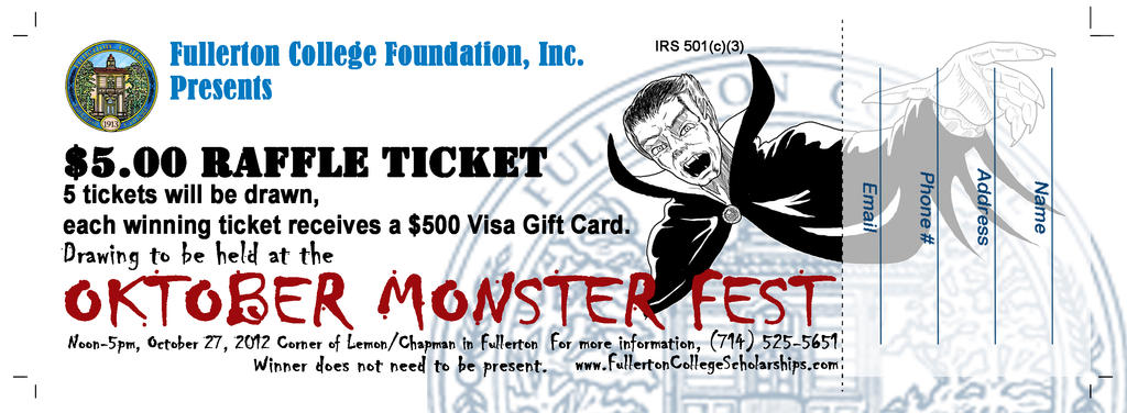 FCF Oktober Monster Fest - 2012 Raffle Ticket by KevinPSB4