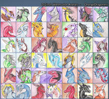 2x2inch watercolor avatars by LilOrangeDragoness