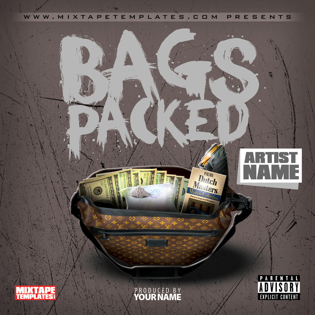 39 39 bags packed 39 39 mixtape cover template by for Free mixtape covers templates