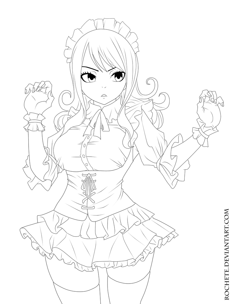 Juvia Lineart : Juvia maid lineart by rochete on deviantart