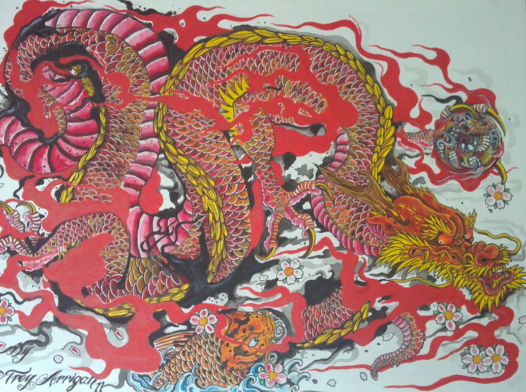 Rust japanese dragon by thedarkestpassenger on deviantart for Japanese dragon painting