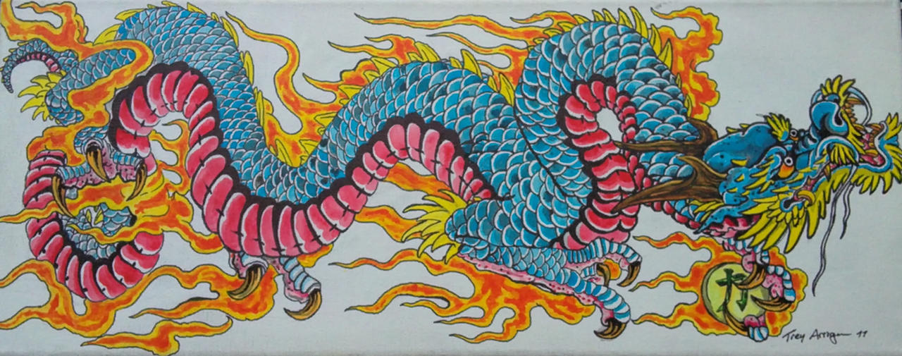 Blue japanese dragon painting by thedarkestpassenger on for Japanese dragon painting