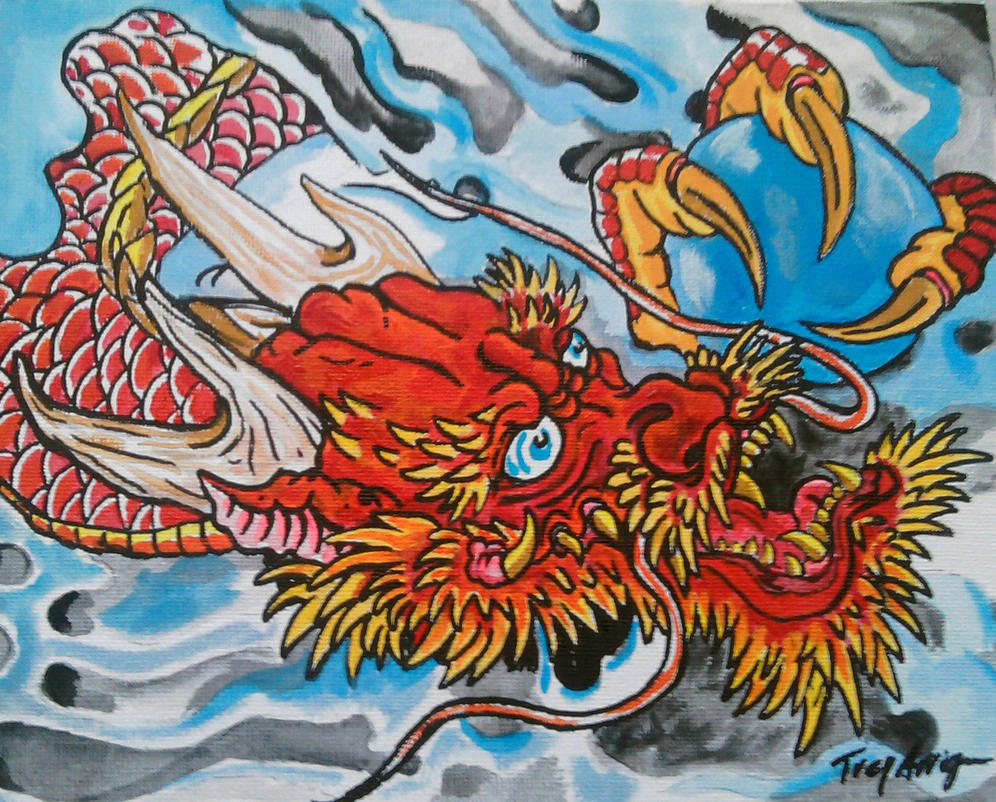 Red japanese dragon painting by thedarkestpassenger on for Japanese dragon painting