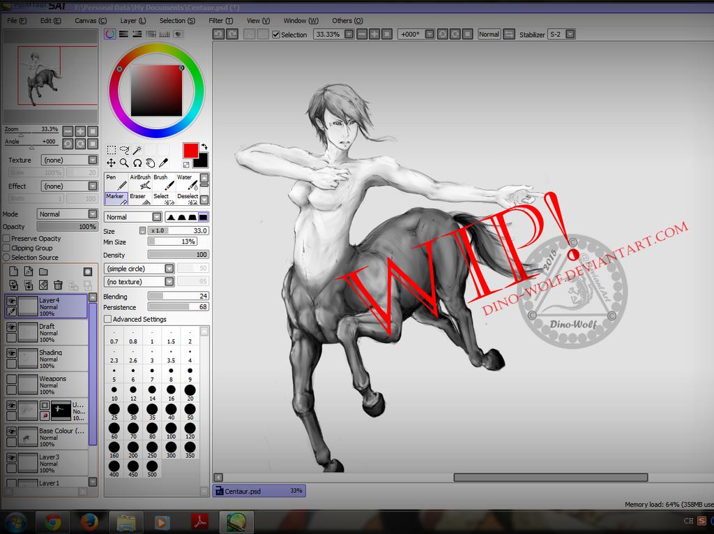 Centaur WIP by dino-wolf