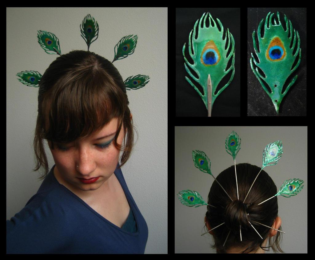 Peacock Hairpins by ilkela