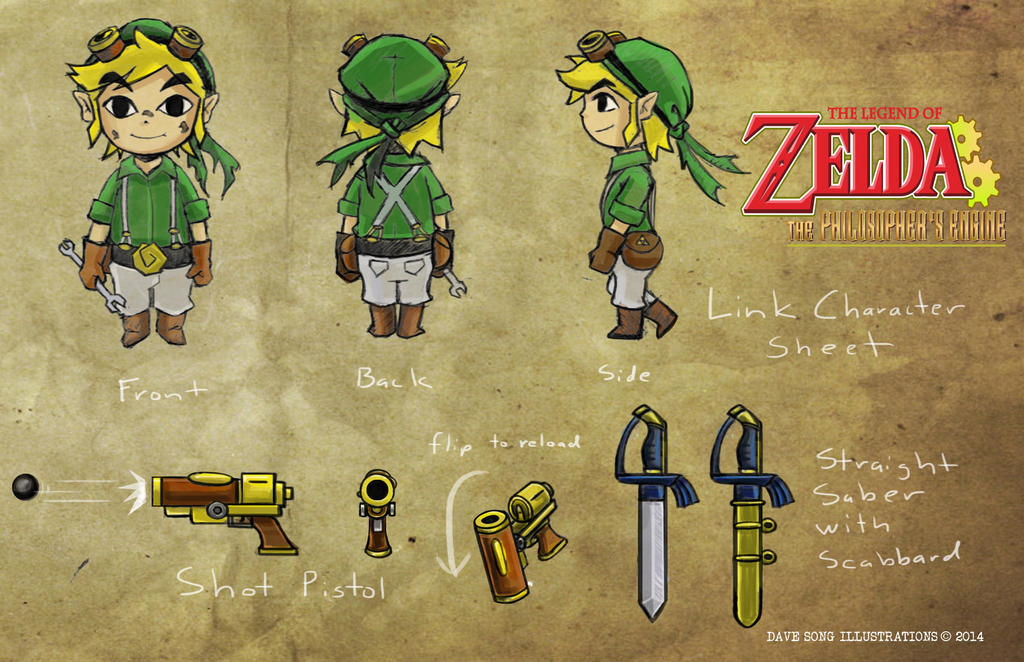 Character Design Engine : Zelda steampunk link character design sheet by davesong