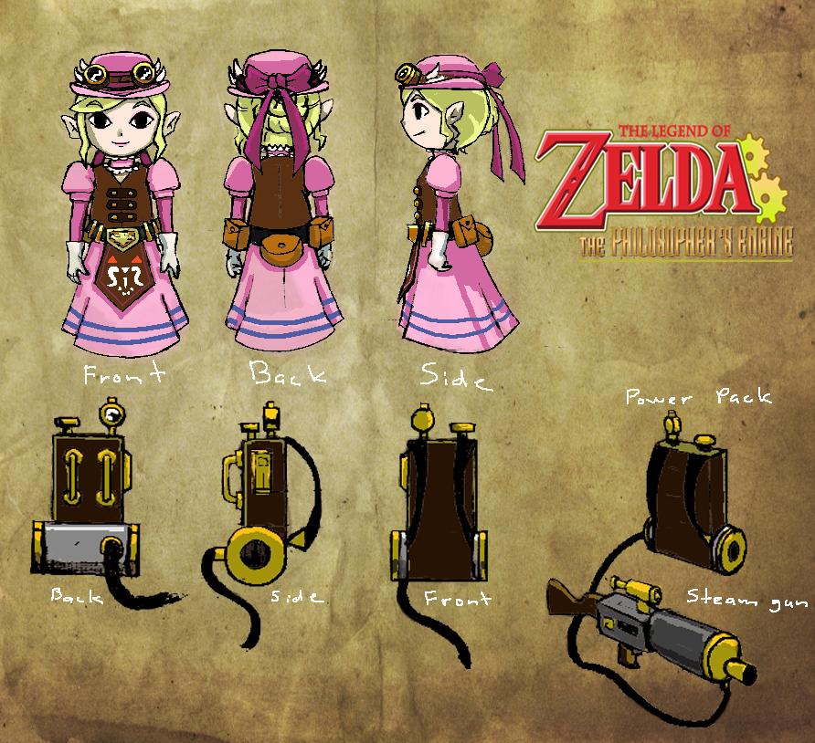 Character Design Challenge Zelda : Zelda steampunk character design sheet by davesong