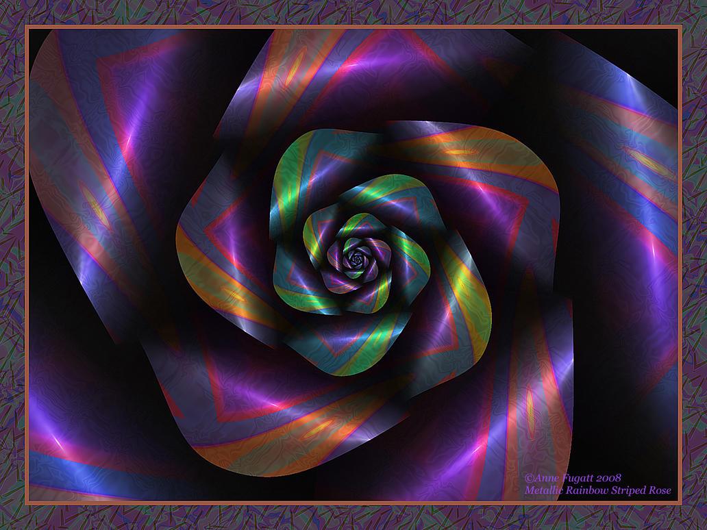Metallic Rainbow Striped Rose by afugatt