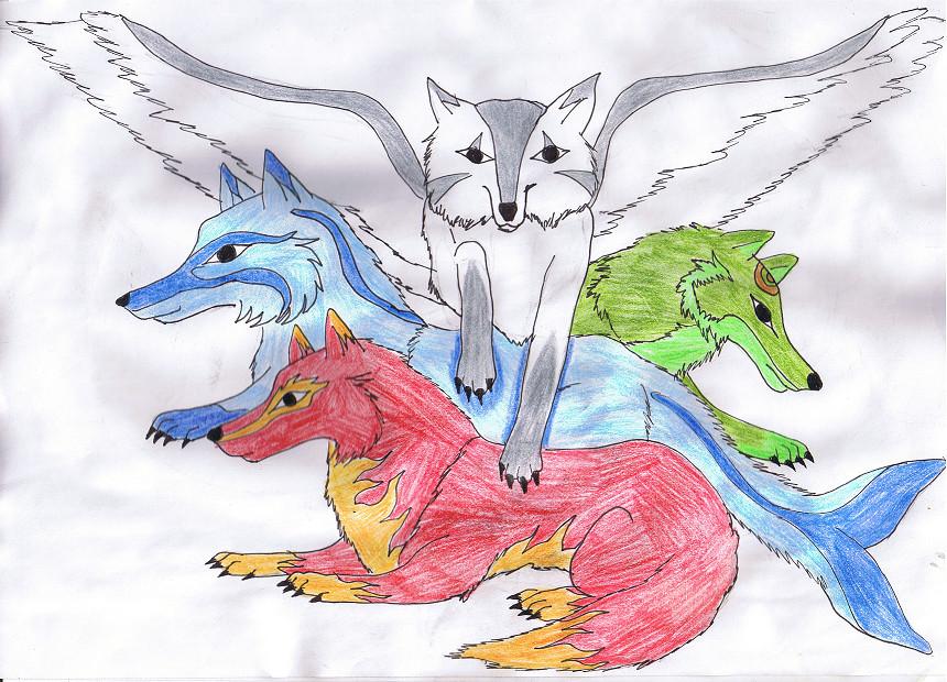 4 element wolves by xXBlackwolfangelXx on DeviantArt