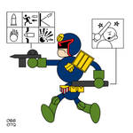 Judge Dredd in the style of: Chris Ware