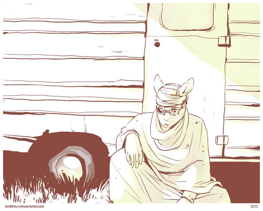 the wanderer at a trailer door