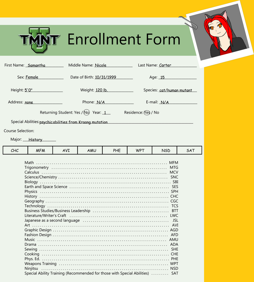 Tmnt U Enrollment Form 2014 Samantha by Samtheninjacat