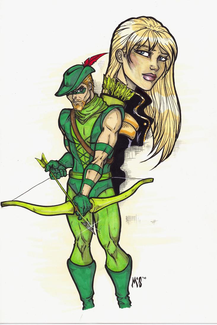 Green Arrow and Black Canary by CrimsonArtz