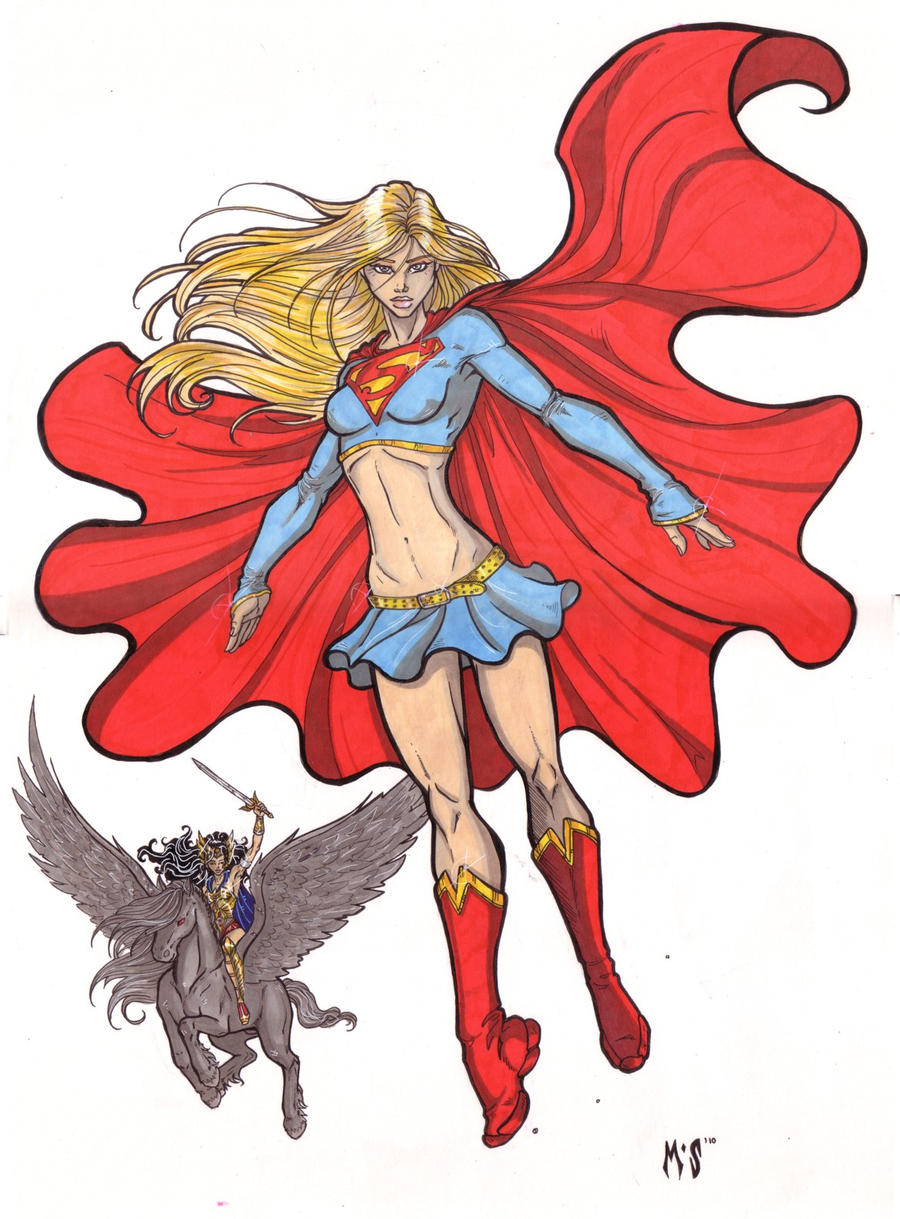 Supergirl and Hippolyta by CrimsonArtz