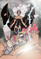 Storm versus Thor by CrimsonArtz