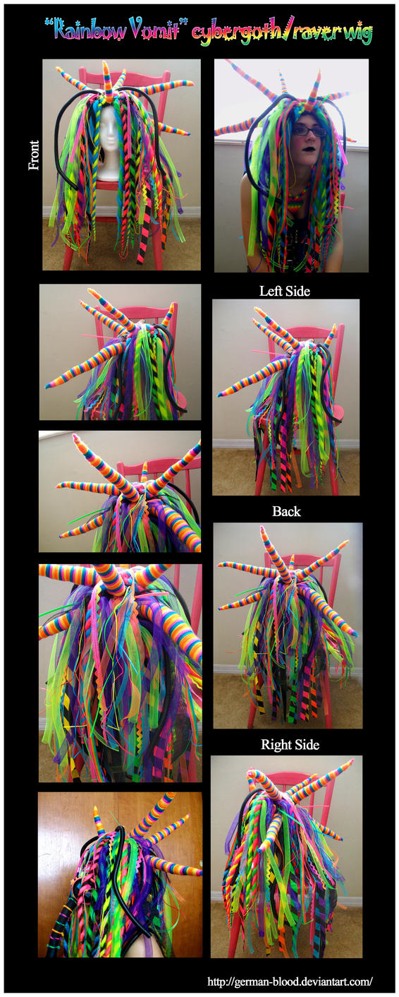 Rainbow cybergoth raver outfit - wig by German-Blood