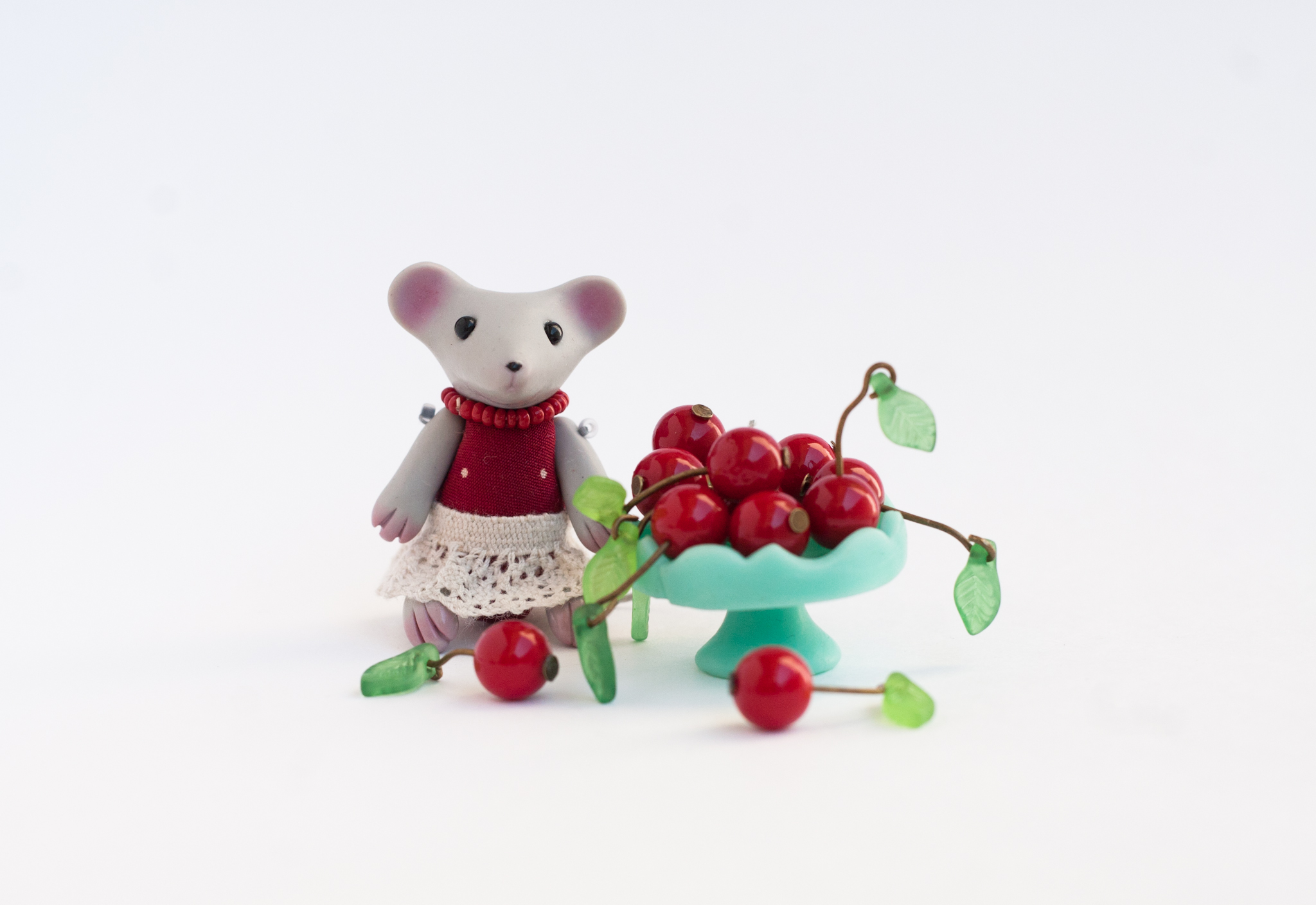 tiny mouse with cherry by freedragonfly
