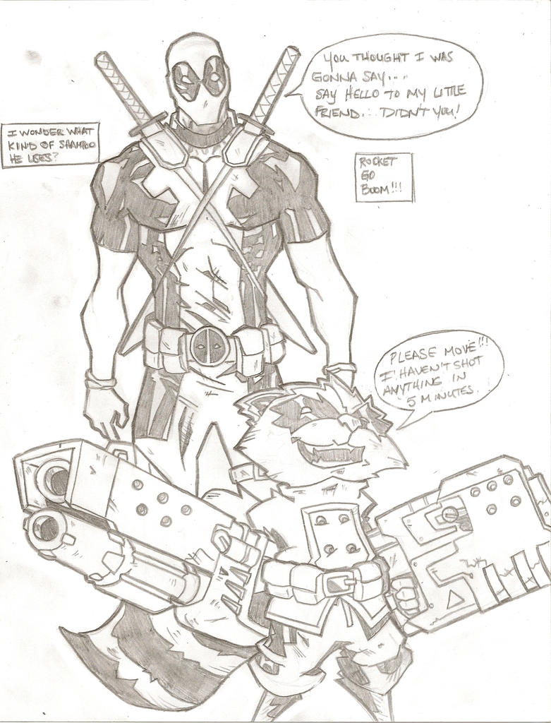 Deadpool and Rocket by stipher30