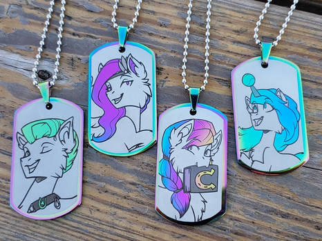 4 of the new Mane 6   as Dog Tags