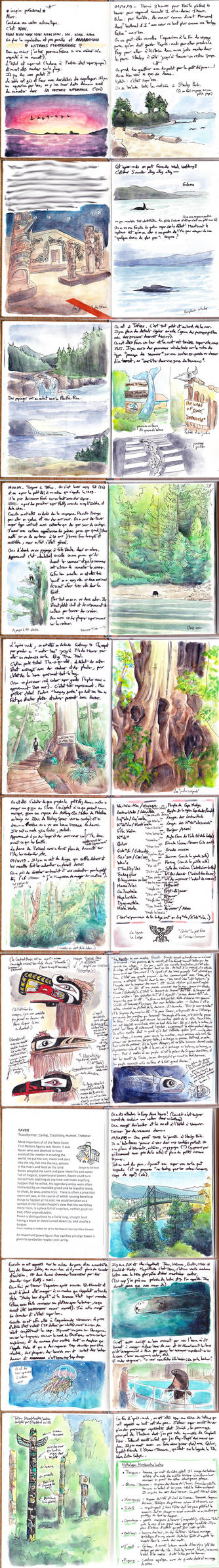 Pages from a roadtrip journal on Vancouver Island