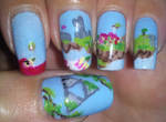 The Legend of Zelda to the skies nail art