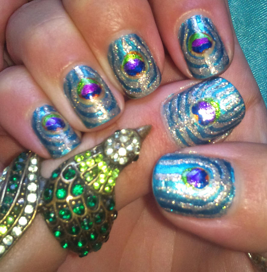 Peacock nail art by amanda04