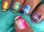 Melted crayons nail art