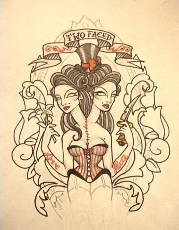 Two faced tattoo design by dollface801 on deviantart for Two faced tattoo