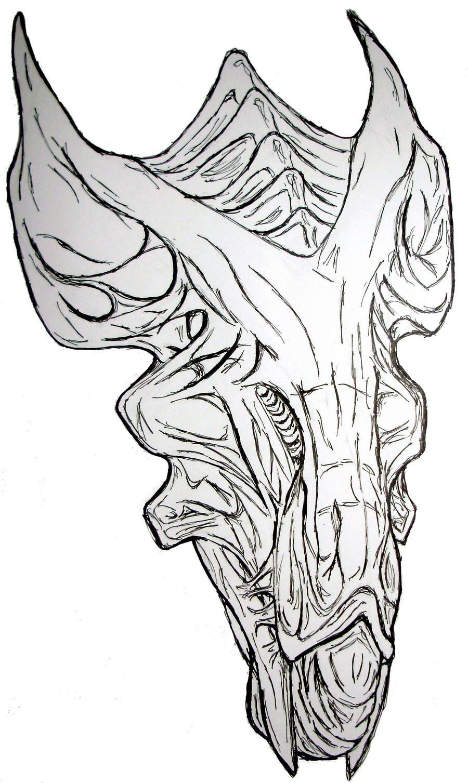 Alien Head Drawing Alien Queen Head by
