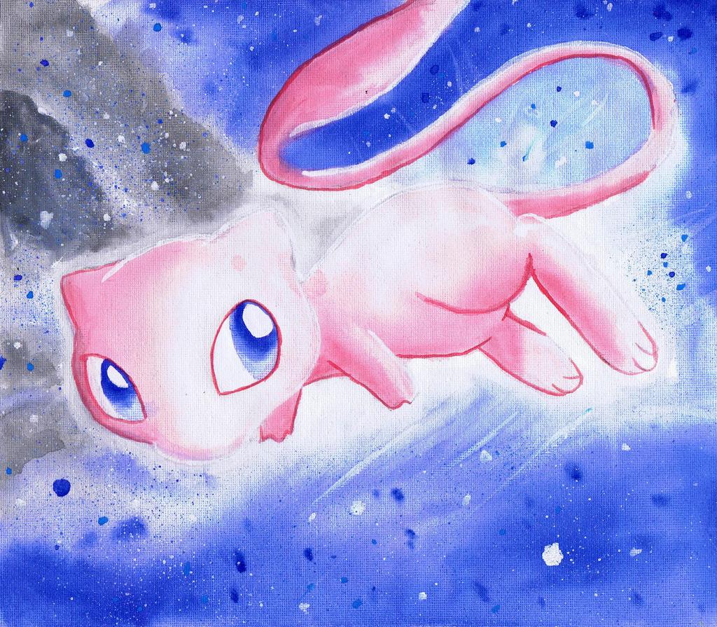 Gdyby Pokemony istniały naprawdę.. Mew_pokemon_watercolor_on_canvas_painting_by_lightningchaser-d690q1h