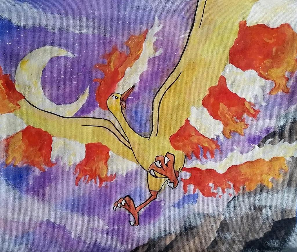 pokemon legendary bird moltres painting by lightningchaser on