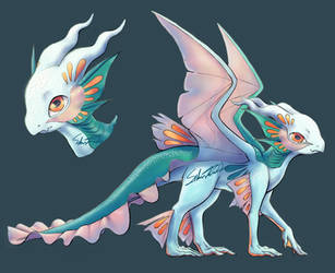 Aqua Dragon Adoptable by SilverTarandus