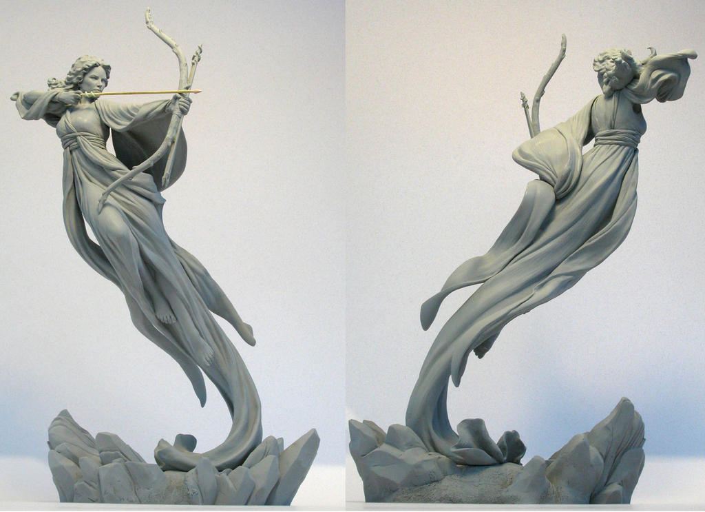 """Serafina"" traditional archery sculpture by MarkNewman."