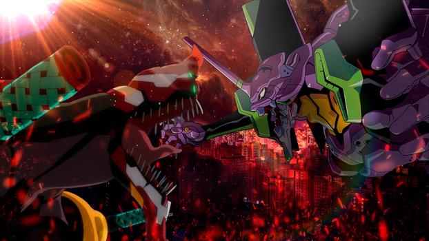 Neon Genesis Evangelion Wallpaper Unit 1 vs Unit 2