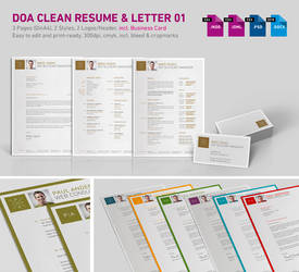 DOA Clean 3-Part Resume 01 incl. Business Card